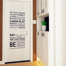 Love Family Rules Removable Vinyl Art Mural Decals Quote Word Home Wall Stickers