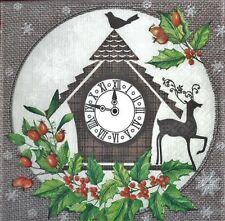 4 X SINGOLO Tovaglioli di carta Natale Orologio BIRD DEER decoupage fai da te -103