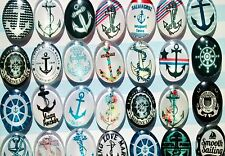 5pcs 25x18mm glass cabochon nautical anchor rockabilly flatback dome jewellery