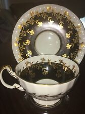 Vintage Aynsley Bone China England Tea Cup and Saucer Black White Gold Trim