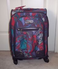 Kathy Van Zeeland Purple Paisley Carry-On Expandable Spinner Luggage + Strap