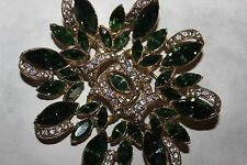 vintage BOGOFF signed LARGE GREEN RHINESTONE AND CLEAR RHINESTONE BROOCH-RARE