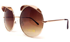 GOLD EYELID SUNGLASSES CELEBRITY ROUND OVERSIZED METAL GAGA STYLE RETRO CIRCLE