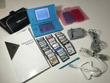 HUGE Nintendo DSi Matte Blue Portable Gaming System 21 games, headset and more