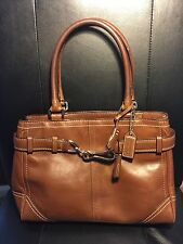 COACH F08A70 Leather HAMPTON Light Tan Handbag Satchel Tote Shoulder Bag Purse