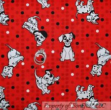 BonEful FABRIC FQ Cotton Quilt Red B&W 101 Disney Dalmatian Dog Puppy Dot Stripe