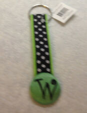 MSC MAINSTREET COLLECTION MONOGRAM KEYCHAIN LETTER 'W' GREEN BLACK WHITE DOTS NW
