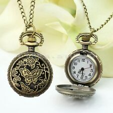 Vintage Lady Bronze Butterfly Flower Antique Pocket Watch Necklace Pendant Chain