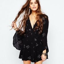FREE PEOPLE Black Jasmine Embroidered Boho Faux Wrap Dress  M/L Fits 8 ~ 10