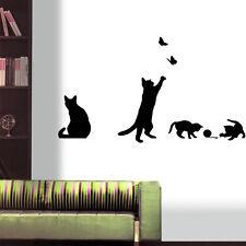 Cat Play Living Room Decor Removable Decal Vinyl Mural Art PVC Wall Sticker
