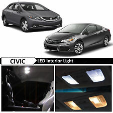 8x White Interior LED Lights Package for 2013-2015 Honda Civic Sedan Coupe