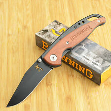 Browning Black Stainless Cocobolo Handle Framelock Knife 322069