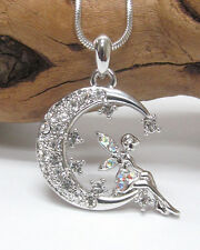 w Swarovski Crystal Tinkerbell Fairy on the Moon Pixie Pendant Necklace