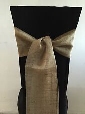 hessian Burlap Rustic chair sash to buy Overlocked In Matching Cotton