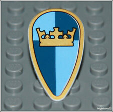 Lego Castle x1 Blue Gold Crown Ovoid Shield King Knight Crusader Minifigure NEW