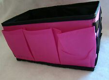 New Beauty Makeup Caddy Organizer Polyester Pink and Black w/ Dividers