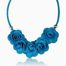 blue charm pendant fabric flower love choker statement necklace