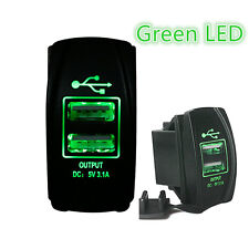 Car Boat Dual USB Charger+Green LED Light Power Socket for Rocker Switch Panel