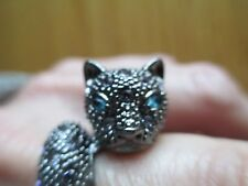 Cat Ring with Blue Eyes and Rhinestones-size 7 1/4