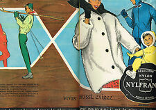 PUBLICITE ADVERTISING 124  1960   NYLFRANCE vetements de ski anoraks fuseaux (2p