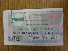 14/12/1996 Rugby Union Ticket: England v Argentina [At Twickenham]