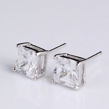 Cool 9K White Gold Filled Flawless CZ Men's Stud Earrings,Z2219