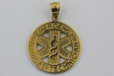 Emergency Medical Technician Pendant Made in Genuine 14K Solid Yellow Gold