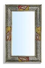 Large Rectangular Silver Moroccan Mirror  hammered with Touareg painting 70 cm