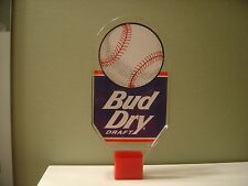 VINTAGE BUD DRY DRAFT LUCITE BEER TAP HANDLE KNOB BUDWEISER DOUBLE SIDED