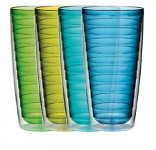 Boston Warehouse 24-Ounce Insulated Tumbler Cool Tones, Set of 4, New