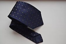 Kiton Napoli Silk Tie 7 Fold Navy Blue Gold Luxury Necktie