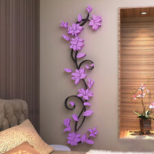 Super 3D flor morada Pared Adhesivo Decoración Hogar Removible PVC Calcomanía Sala