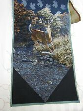 Buck Running Whitetail Deer Fall Autumn Leaf unfinished Tapestry Table Runner