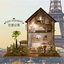 DIY Wooden Dollhouse Model House Paris Apartment Villa With Light Music Gift Top