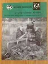 Ferguson charrue brochure *** original fergie 794 brochure