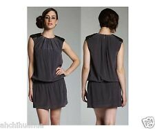 BNWT Ted Baker Silk Sadira Dark Grey Shift Dress Size 1, UK 8