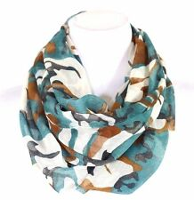 B43 Green Brown Ivory Black Camouflage Print Infinity Scarf Boutique