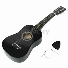 "Black 6 String Guitar 23"" Beginners Mini Acoustic Instrument Kids Gift w/ Pick"