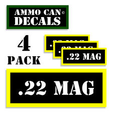 "22 MAG Ammo Can Labels for Ammunition Case 3"" x 1.15"" sticker decal 4 pack BLYW"