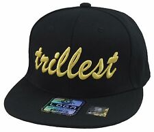 Custom Made Stylish Cool Black/Gold Trillest Hat Snapback Flat Bill Cap  3D