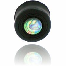 000g 7/16 INCH CONCAVE EBONY WOOD PLUGS W/ SHELL INLAY