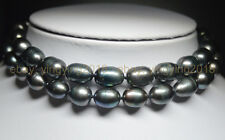 NATURAL 10-11MM TAHITIAN RICE BLACK PEARL NECKLACES LONG 25 INCHES