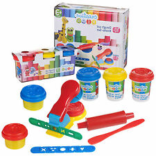 10 Piece Creative Kids Play Dough Craft Gift Set 5 Tubs Roller Moulds & Press