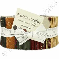 "Moda Prairie Cactus Jelly Roll Fabric Kansas Troubles 40 2.5x44"" Quilting Strips"