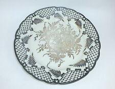 Großer Porzellanteller mit Silber Overlay Richard Ginori Italien um 1920