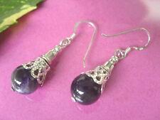 10 mm dunkler Amethyst Edelstein Ohrringe Ohrhänger Earring+ 925 Silber Ohrhaken