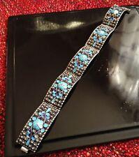 Vintage Enamel Bracelet - Greek Sterling Silver Flower Enamel Panel Bracelet