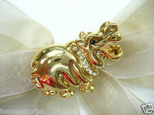 18k Gold Plate Hippo Crystal Rhinestone Brooch Pin