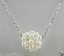 BEAUTIFUL WHITE HAND KNIT PEARL BALL PENDANT NECKLACE