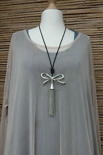 LAGENLOOK AMAZING BEAUTIFUL QUIRKY BOHO LONG ARTIST PENDANT NECKLACE*SILVER*